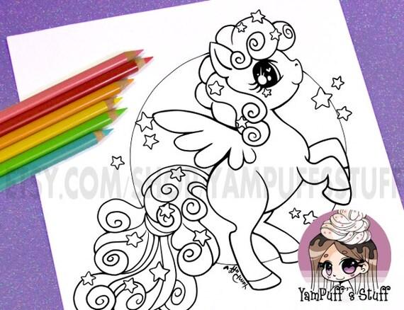Starry Flight the Pegasus - Clip Art - Digital Stamp