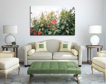 Hibiscus  flowers Canvas Art, Gardenia hibiscus flowers Canvas wrap, Hawaiian hibiscus print, Red hibiscus flower, Nature flowers decor wall