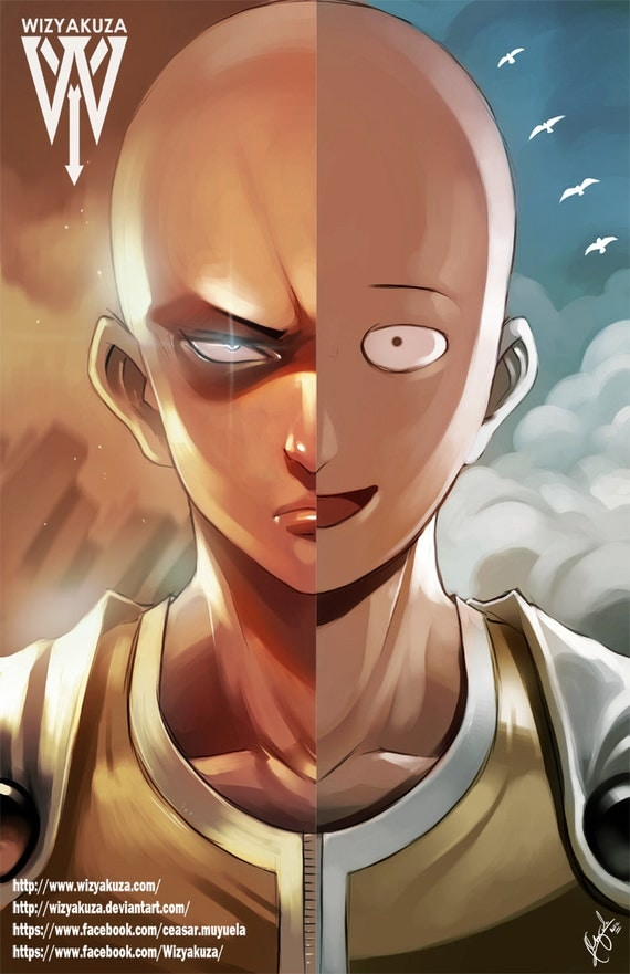 6 Anime Characters Who Can Challenge Saitama : Saitama serious troll face split one punch man by