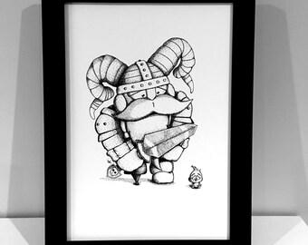 Viking, Black and White, Cartoon, Art, A4 Print, Home Decor, Children's Room, Print Only No Frame