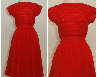 vintage 60s red dress/sixties red broderie anglaise full skirt dress/ size medium M