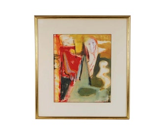 Mid-century Modern Abstract Gouache Painting Ghostly Figure Lillian Banish Chicago Artist