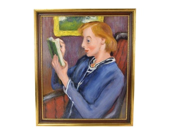 1930's Oil Painting Stylized Woman Reading by Martin Petersen NY/Denmark