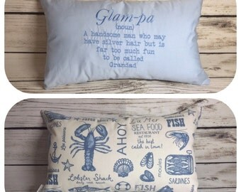 "Glam-pa embroidered 12x20"" cushion grandparent gift *REDCUED*"