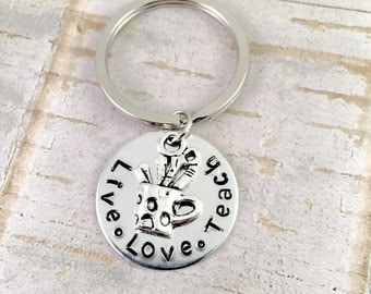 Teacher keychain, Thank you teacher gift keychain, Live, Love, Teach quote keyring, back to school teacher gift, teacher friend gift