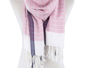Scarf Fuchsia Pink and Navy Blue Stripes With Tassels.