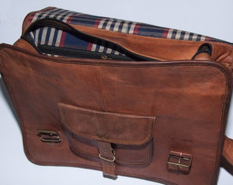 "Heathbold Lancastrian. Monogram or personalization options. Brown leather messenger laptop satchel bag. XL for 15"" laptop"