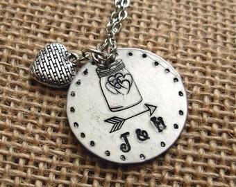 Custom Initialed Mason Jar Hearts Hand Stamped Silver Necklace Wedding|Rustic|BoHo|Jewelry