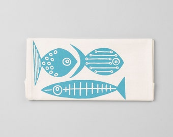 1 Hand Screen-printed Fish Tea towels.