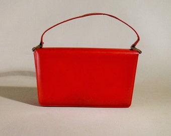Original 50ties Red Leather Vintage Bag, Handbag, Small Bag, Evening Bag