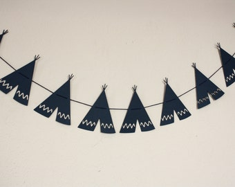 Tee Pee Garland-- Tee Pee Banner-- Tribal Garland -- Tribal Banner -- Tribal Party-- Tee Pee