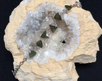 Wearable Art: Bella Moldavite and Silver Bracelet