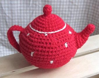 Teapot Baby Rattle - crocheted cotton children's toy - amigurumi crochet