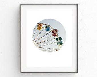 Summer Art, Carnival Photography, Circle, Printable Photography, Happy Art, Ferris Wheel Art, Circus Photo, Ferris Wheel Print, Wall Decor
