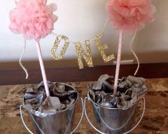 Girls first birthday cake topper