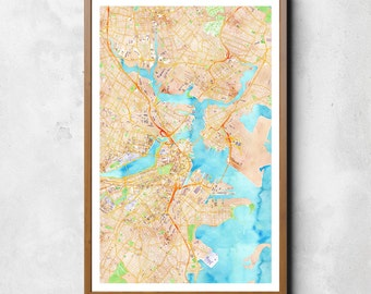 Map of Boston, Boston, Boston art, Boston map, Boston print, Boston Decor, Boston Gift, Boston Art Map, Boston Poster, Wedding Gift, map art
