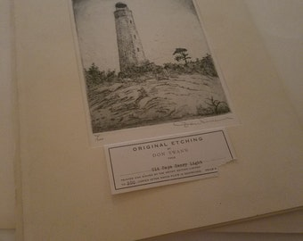 """Original Limited Edition Etching by Don Swann~Titled """"Old Cape Henry Light"""""""