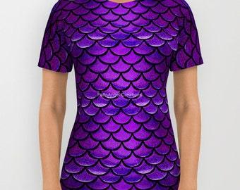 Purple & Blue Mermaid Scales T-Shirt