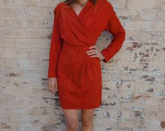 Vintage Suede Sleeve Mini Dress