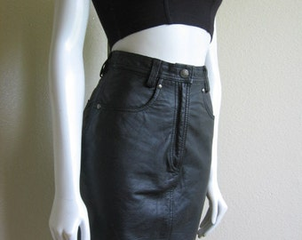 vintage 90s leather pencil skirt- Harley Davidson xs