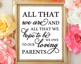 All that we are and all that we hope to be we owe to our loving Parents. Heartfelt Wedding sign. Wedding Decorations. WEdding Table Signage.