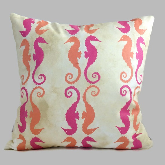 Coastal Color Throw Pillows : Coastal Pillows Orange Magenta Pink Batik Yellow Sea Horse