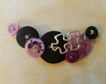 Purple Button Necklace