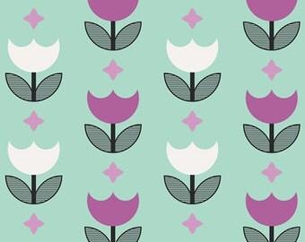 1/2 yd SALE Geometric Bliss Vertex Tulips Fabric by Jeni Baker for Art Gallery Fabrics GBL 1436 MINT
