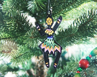 African Ornament, African Inspired Girl Christmas Ornament, African Christmas Ornament, Embroidered Ornament, FSL Ornament