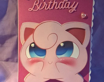 Pokémon jigglypuff birthday card with pink and pearl hearts,a name age or family member can be added if requested when you buy the card