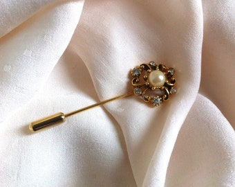 Vintage Faux Pearl & Crystal Hat Pin