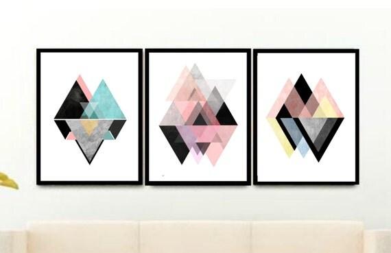 Triptych scandinavian prints geometric art printable art - Tableau geometrique scandinave ...