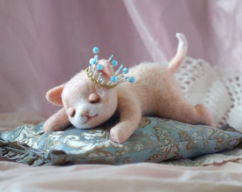 Pet wool animal kids.cute kitten sleep.Needle Felted toy..Funny small toy. Wool animal kids kitten