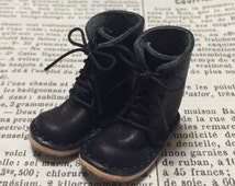 Real leather: miniature lace-up boots [BLACK] (for blythe)