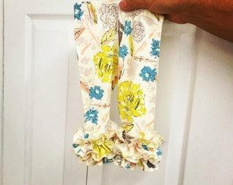Fall floral double ruffle leggings, floral toddler ruffle leggings, ruffle icings, newborn knit ruffle pants, baby girl ruffle leggings