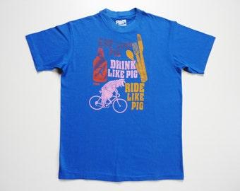 Vintage 80's Funny Tee-Shirt Pig Riding A Bike
