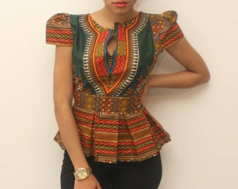 Dashiki green pleated top