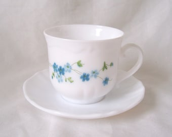 Tea Cup and Saucer Arcopal Veronica White Milk Glass Forget-me-Not Floral c.1950