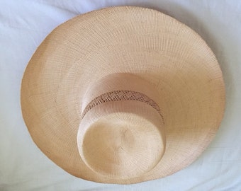 Vintage Natural Fine Woven Straw Hat with Detail