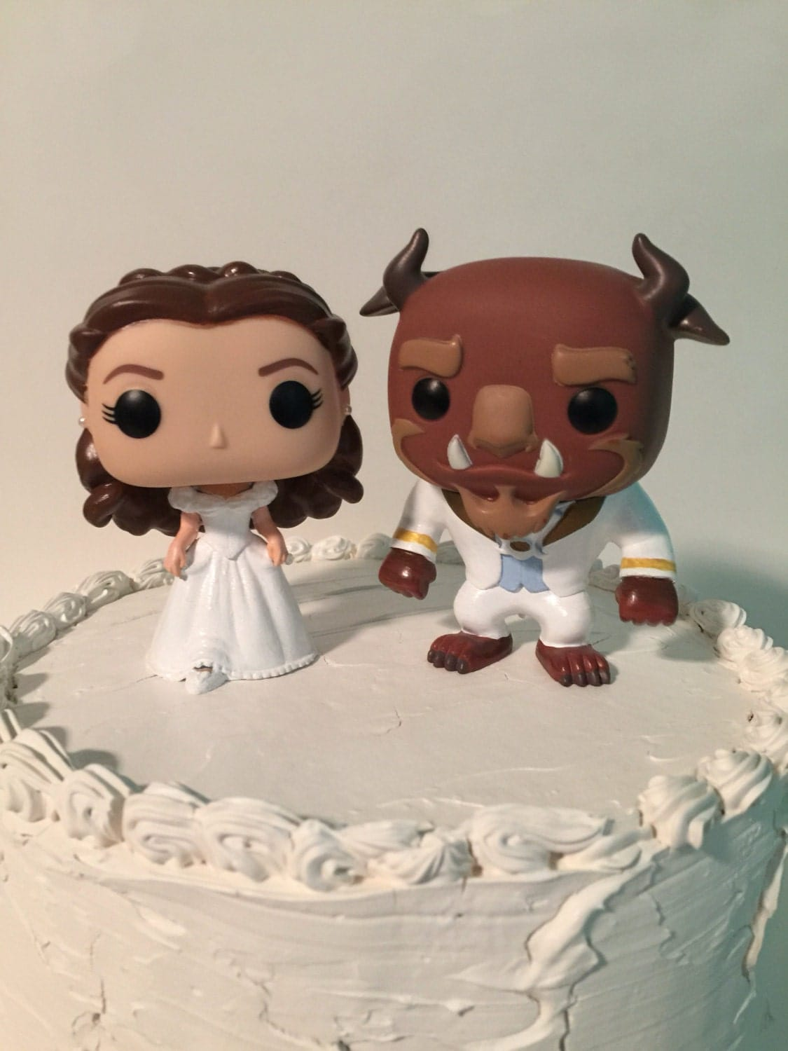 Custom Funko Pop Beauty And The Beast Wedding Cake Topper Set
