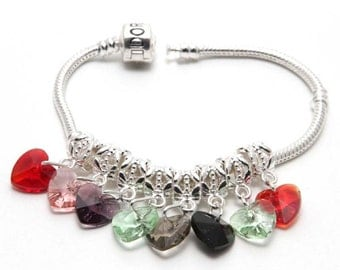 5 Crystal Silver Plated Bail Bead Charms Pandora European Bracelets