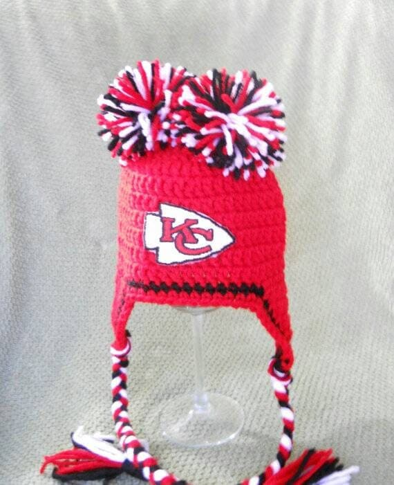 Kansas City Chiefs Football Inspired Crochet Baby Pom Pom Hat