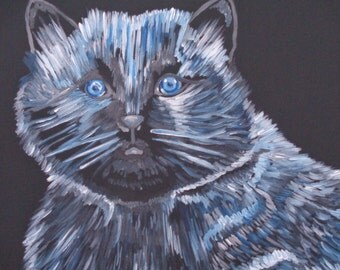 "cat painting- ""Blueberry"""