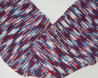 speckled red/white/blue handknitted scarf