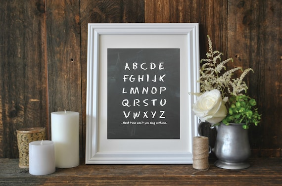 Alphabet Song, Printable Chalkboard Nursery or Classroom Wall Art, Instant Download 8 x 10