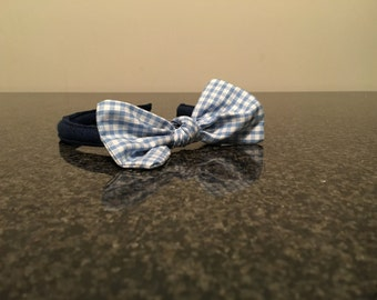 Light blue gingham Alice band (perfect for school)