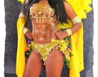 Gold Vegas Showgirl Samba Burlesque Bellydance Drag Costume