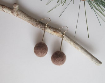 Felted mocca earrings, wool felt earrings, winter wool jewelry, gift gor her, ecofriendly