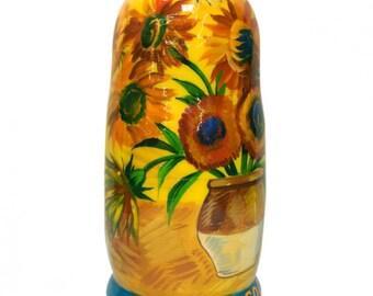 """Nesting Dolls """"Van Gogh"""", 5 Pieces (Russian Wooden Matryoshka Babushka Stacking Doll)"""