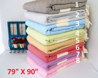 Throw,Diamond Cotton Throw,Beach Blanket,Bed spread,Picnic Blanket,Sofa Cover,Bed Cover,Oversized XXL  Turkish Towel,Multipurpose Blanket,